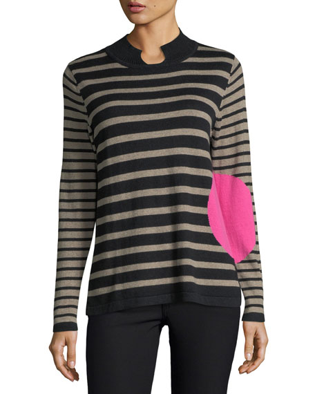 Lisa Todd Striped Mock-Neck Sweater