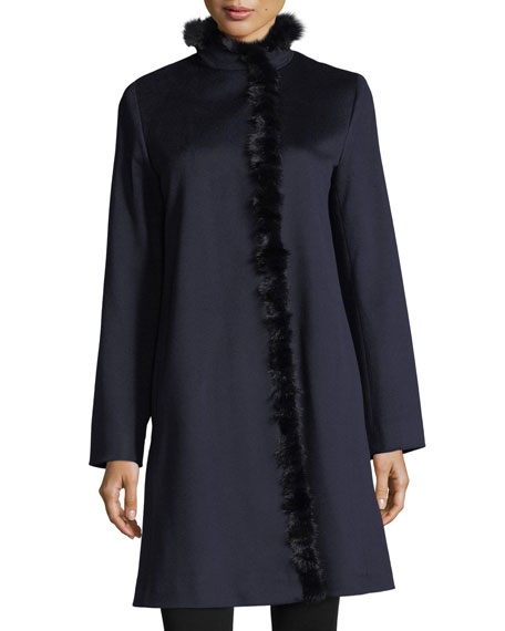 Fleurette Modern Stand-Collar Dress Coat w/ Mink Trim