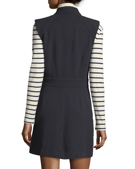 Leigh Mod Button-Down Crepe Dress
