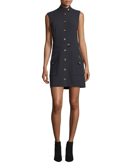 Veronica Beard Leigh Mod Button-Down Crepe Dress