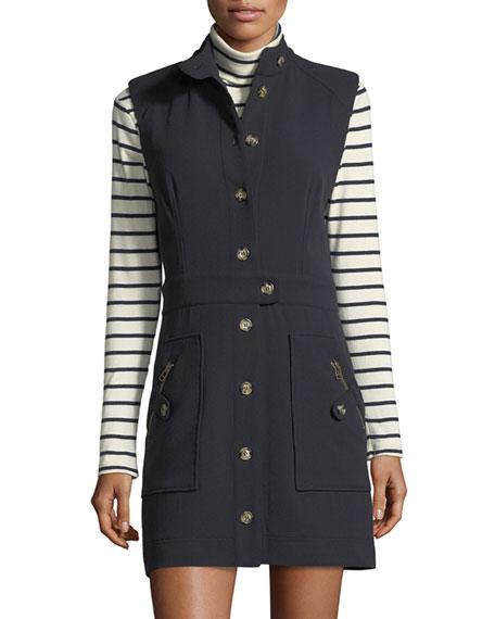 Leigh Mod Button-Down Crepe Dress