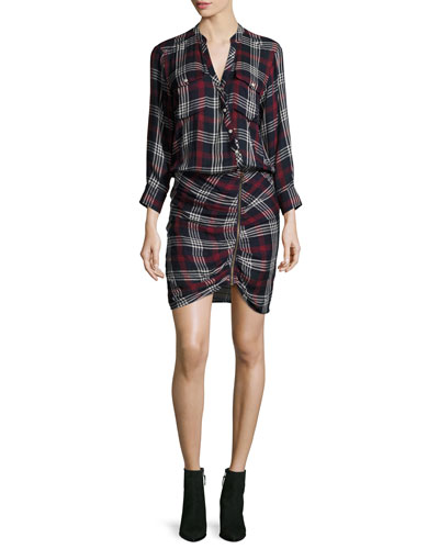Emory Ruched Cargo Plaid Shirtdress