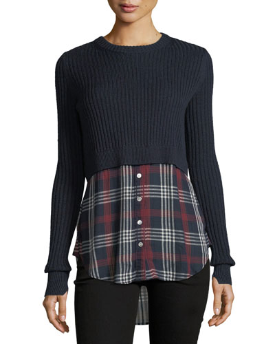 Garret Mixed-Media Rib-Knit Plaid Tunic