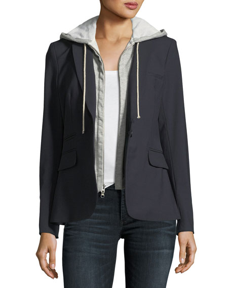 Veronica Beard Cashmere Hoodie Zip-Front Dickey and Matching