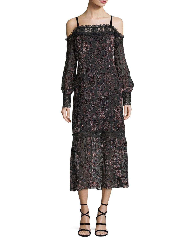 Picadilly Cold Shoulder Velvet Burnout Midi Dress