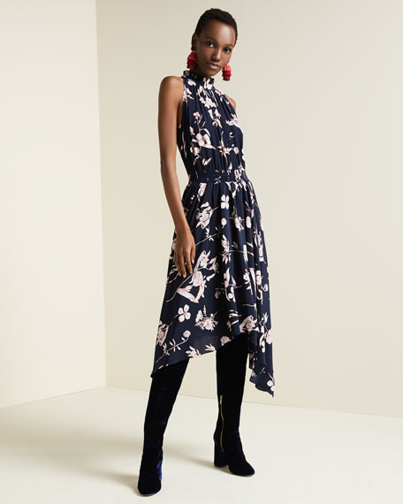 Barra High-Neck Sleeveless Floral-Print Silk Midi Dress