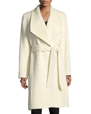 Sofia Cashmere Belted Shawl Collar Baby Suri Alpaca Wrap Coat