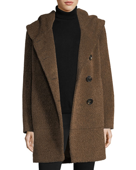 Envelope-Collar Button-Front Wool-Blend Cocoon Coat
