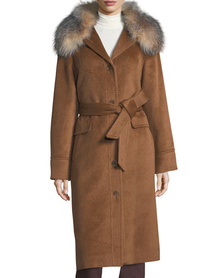 Sofia Cashmere Button-Front Belted Alpaca Top Coat w/