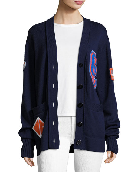 Varsity Wool-Knit Cardigan Sweater W/ Patch