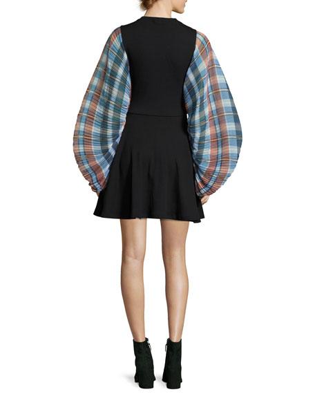 Fit-and-Flare Plaid-Sleeve Mini Dress