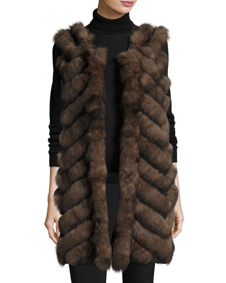 Belle Fare Long Chevron-Paneled Reversible Fur Vest