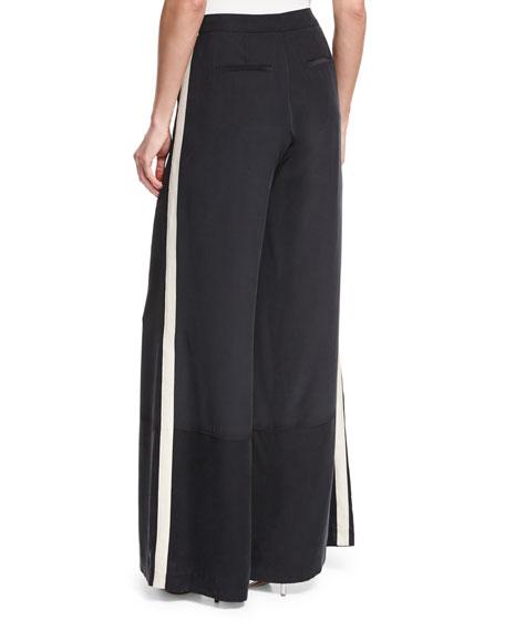 Wide-Leg Silk Pants w/ Striped Sides