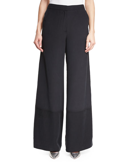 Robert Rodriguez Wide-Leg Silk Pants w/ Striped Sides