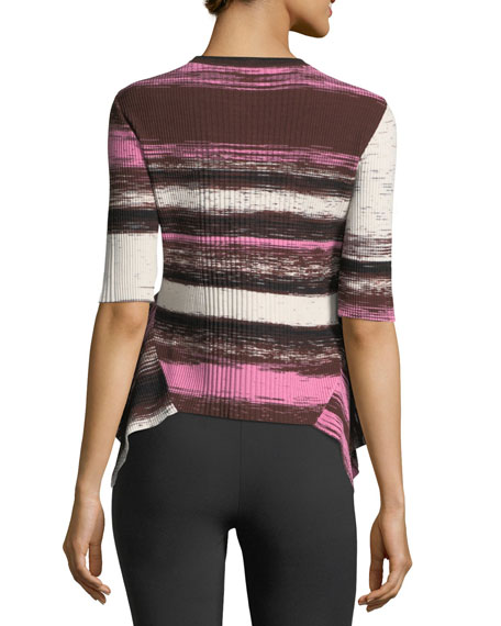 Image 2 of 2: Delta Striped Rib-Knit Sweater