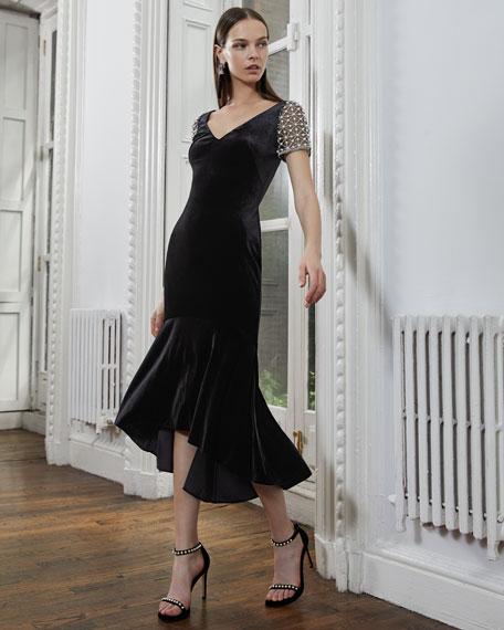 V-Neck Stretch-Velvet Midi Cocktail Dress