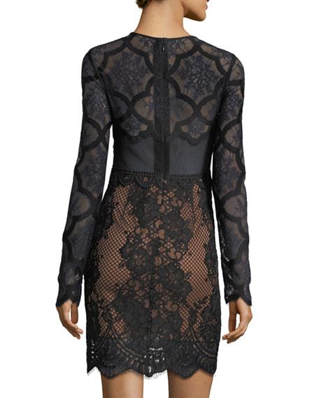 Jewel-Neck Long-Sleeve Lace Cocktail Dress