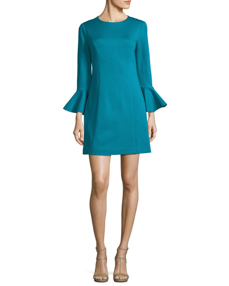 Panache Trumpet-Sleeve Ponte Day Dress