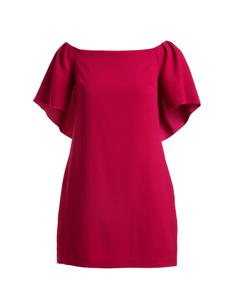 Off-the-Shoulder Crepe Cape Cocktail Dress