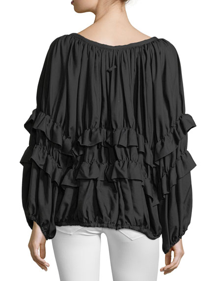 Scoop-Neck Zip-Front Ruffled Jacket