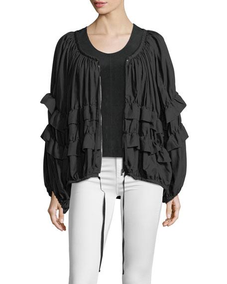 Scoop-Neck Zip-Front Ruffled Jacket