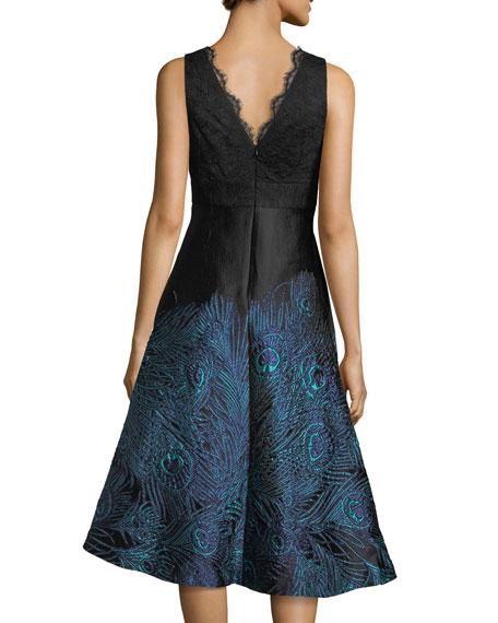 Lace Mesh Sleeveless Peacock Jacquard Cocktail Dress