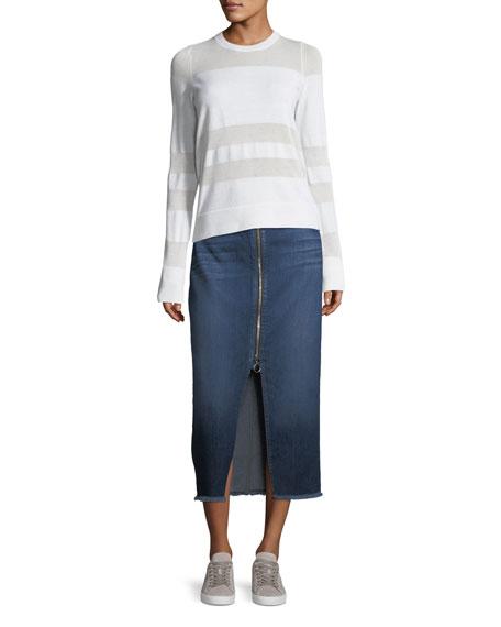 Zip-Front Fringed Hem Long Skirt