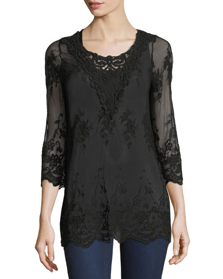 Maidenfair Mesh Embroidered Tunic, Plus Size