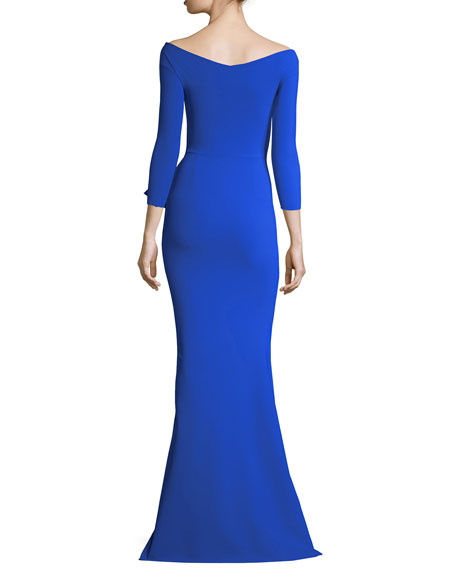 Roselina Off-the-Shoulder Asymmetric Evening Gown