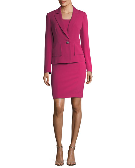 Albert Nipon One-Button Crepe Jacket & Sheath Dress