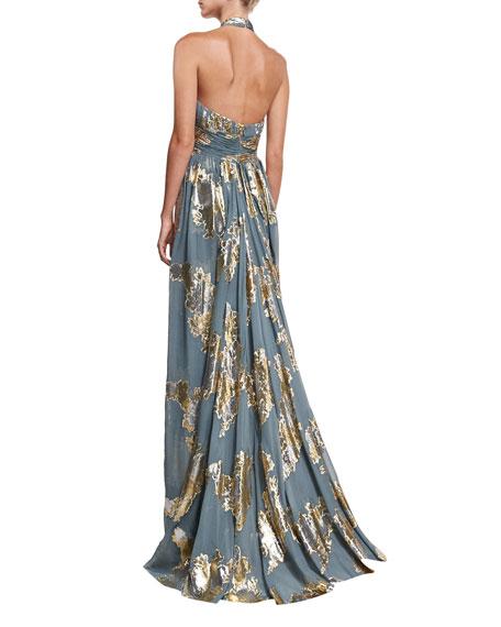 Metallic Shirred Keyhole Evening Gown w/ Train