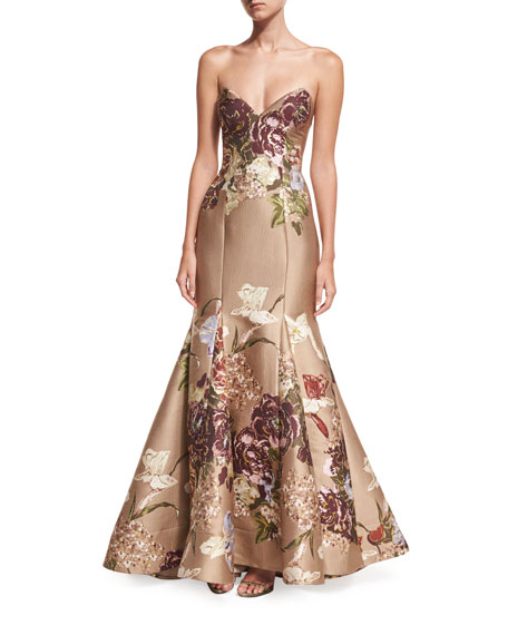 Floral Strapless Sweetheart Bustier Evening Gown w/ Trumpet Skirt