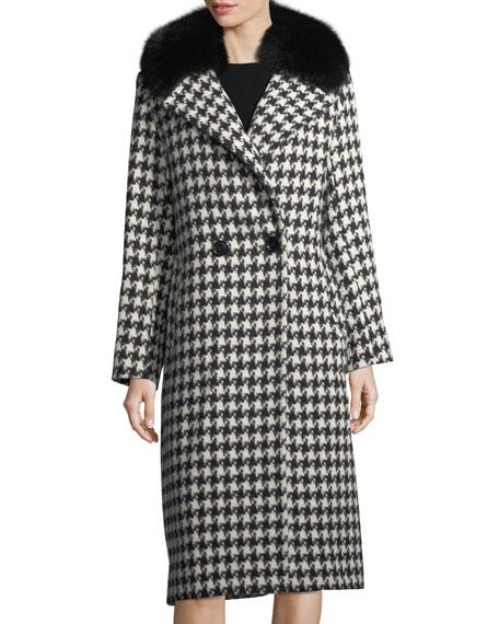 Houndstooth Double-Breasted Alpaca-Wool Coat w/ Fur Trim