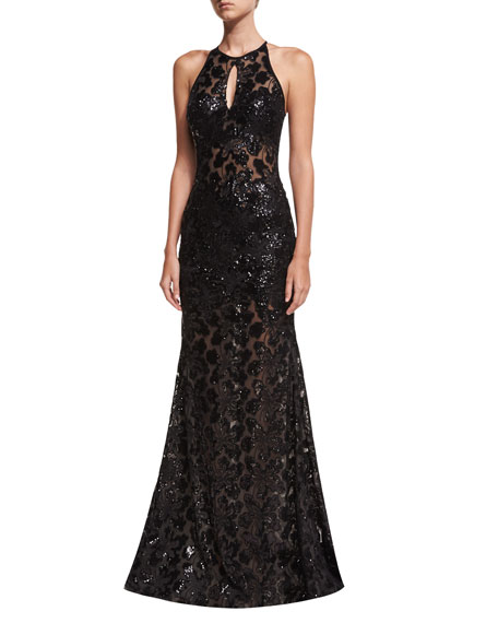 Jovani Embellished Lace Halter Evening Gown