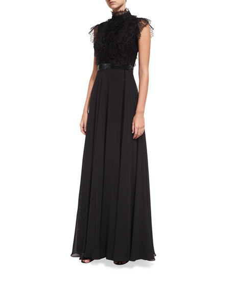 Jovani Mock-Neck Lace Overlay Embellished Evening Gown