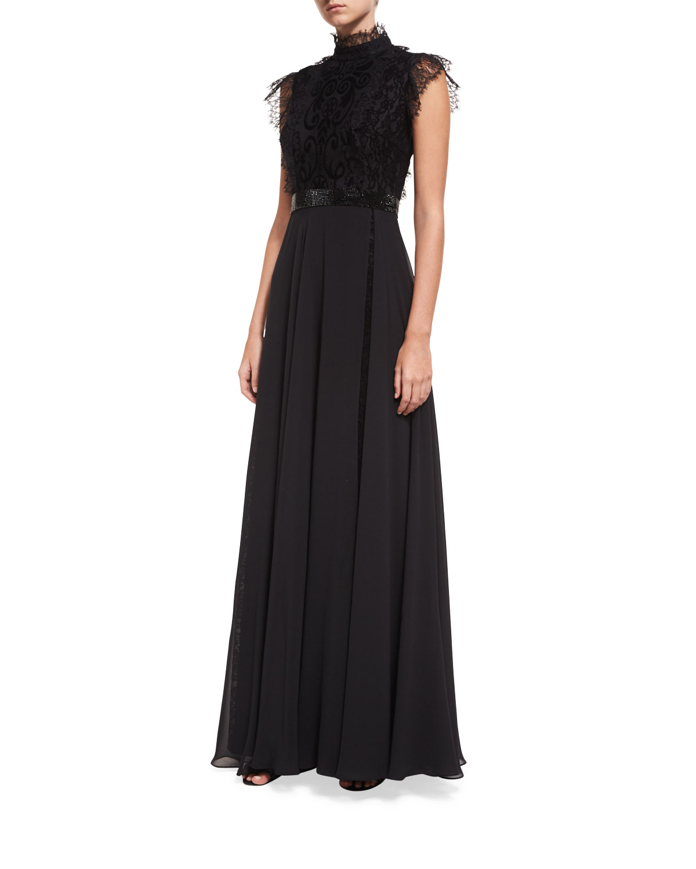 c6dd0827d86 Jovani Mock-Neck Lace Overlay Embellished Evening Gown