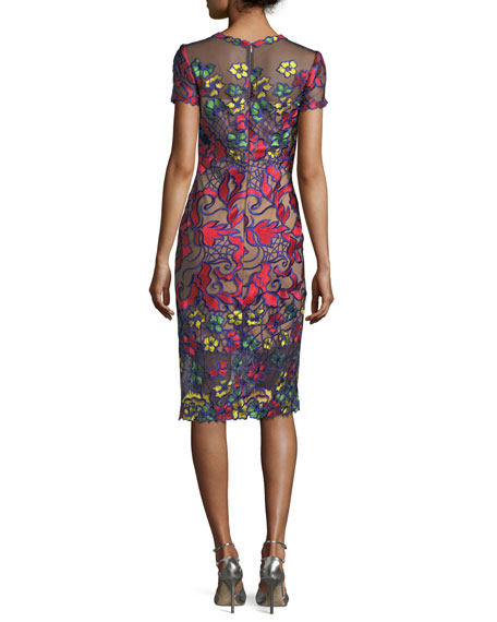Short-Sleeve Floral-Embroidered Sheath Cocktail Dress