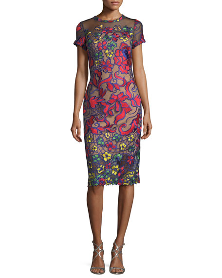 Jovani Short-Sleeve Floral-Embroidered Sheath Cocktail Dress