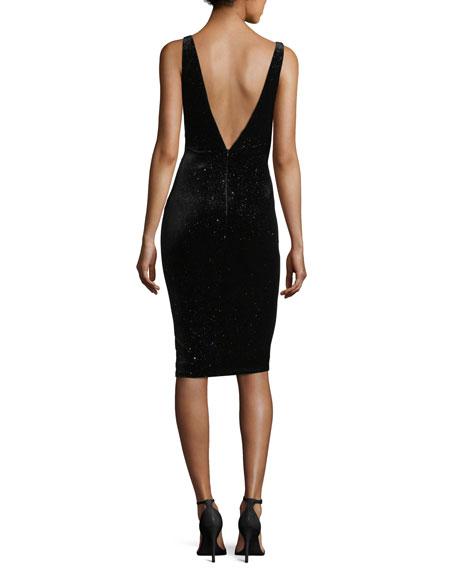 Sleeveless Studded Velvet Cocktail Dress