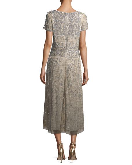 Short-Sleeve V-Neck Beaded Sequin Cocktail Dress