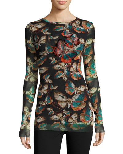 Long-Sleeve Top w/ Butterfly Embroidery