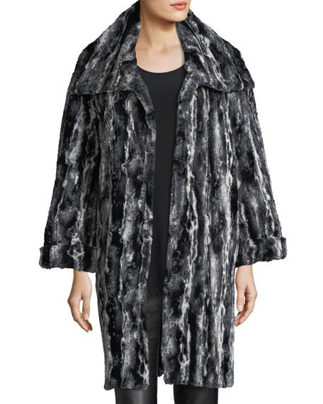 Faux-Fur Easy Coat, Plus Size