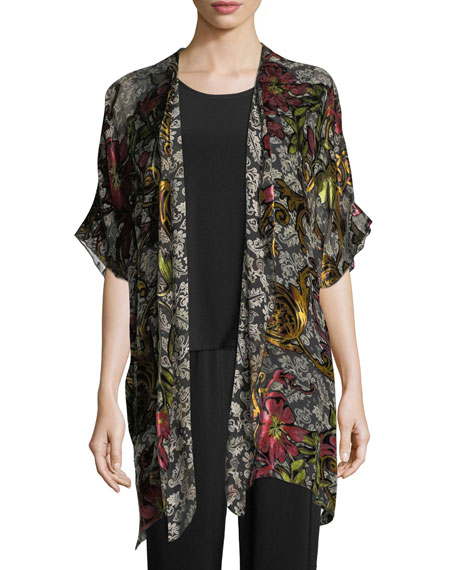 Caroline Rose Double Printed Devore Caftan Cardigan, Plus