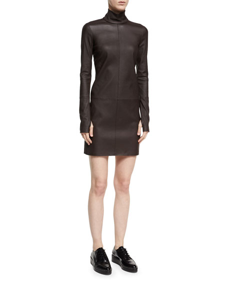 Helmut Lang Turtleneck Long-Sleeve Paneled Leather Dress and