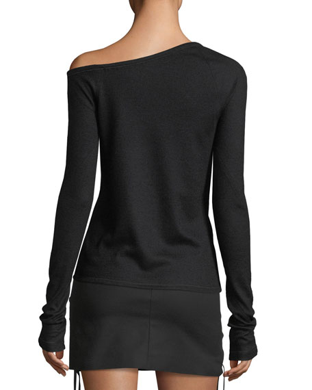 One-Shoulder Long-Sleeve Wool Knit Top