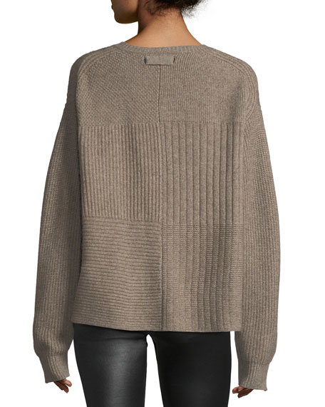 Crewneck Long-Sleeve Textured Pullover Sweater