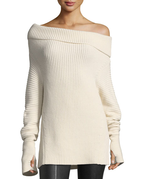 Folded Off-the-Shoulder Ribbed Long Sweater