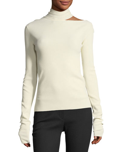 Tieback High-Neck Long-Sleeve Sweater