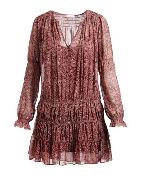 Snow Split-Neck Printed Chiffon Dress