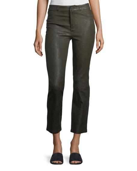 PAIGE Jacqueline Straight-Leg Stretch-Leather Pants
